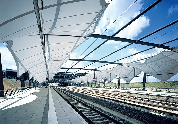 Verseidag TXA-F Train Station Shade Structure in Bright White